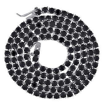 925 sterling sølv unisex svart runde cz cubic zirconia simulert diamant tennis halskjede 3mm 18 tommers smykker gaver til