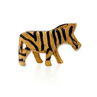 Large Handmade Wooden Zebra Sculpture - 7.5 cm