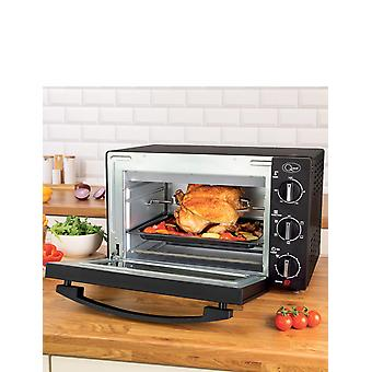 Quest Quest 35399 Mini Oven with Rotisserie, 20 Litre, 1500 Watt, 45.5 x 36.2 x 28.1cm, Stainless Steel, W, 20 liters