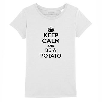 STUFF4 Girl's Round Neck T-Shirt/Keep Calm Be Potato/White