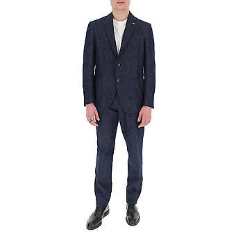 Lardini Ei027aveirl542521 Men's Blue Cotton Suit