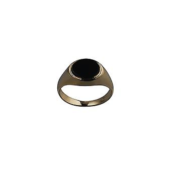 9ct Gold 10x8mm across finger Onyx Signet Ring Size P