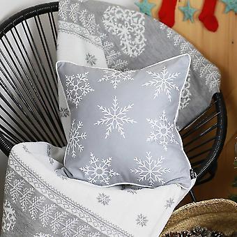 """18&x18"""" Bílé sněhové vločky Vánoční dekorativní polštář ový kryt"""