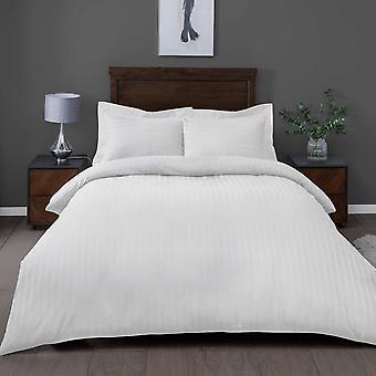 Satin Stripe White Bedding Set