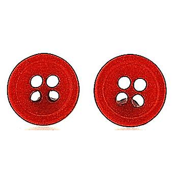 TOC Girls/Ladies Small Acrylic Red Button Stud Earrings