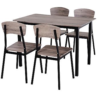 HOMCOM 5 Pieces Compact Dining Table Set  4 Chairs Wood Kitchen Dining Room Furniture Grey
