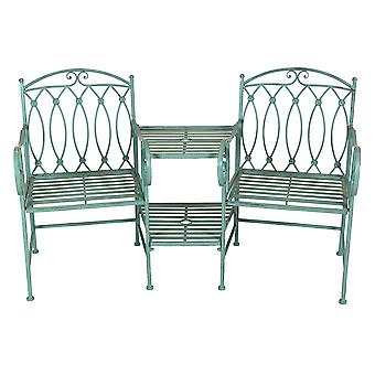 Charles Bentley Wrought Iron Rustic Outdoor Companion Seat for Two Garden with Scroll Detail and Double Level Table - Sage Green
