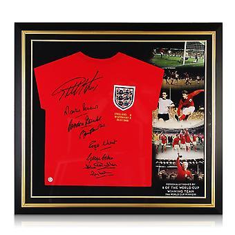 イングランド1966ワールドカップ優勝チームサインシャツ。プレミアムフレーム