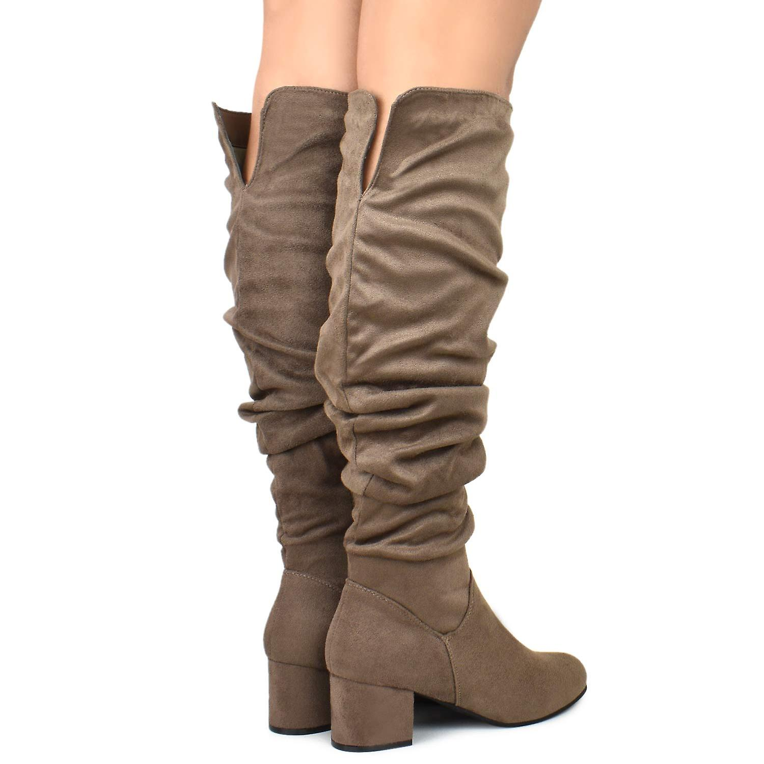 Nature Breeze Womens Bonita Suede Almond Toe Over Knee Fashion Boots