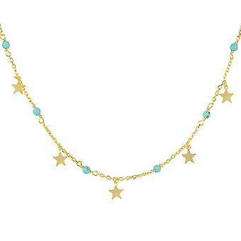 Turquoise Star Choker Necklace Gold Light Blue December Birthstone Statement 925