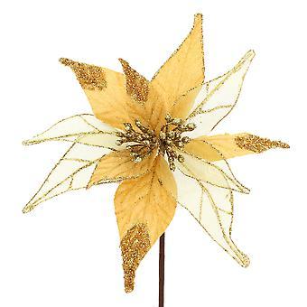 55cm Artificial Gold Velvet Poinsettia Stem - Christmas Floristry Crafts