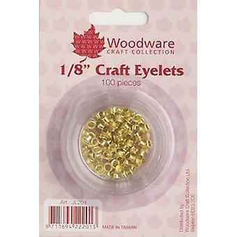 "Woodware 1/8"" Craft Eyelets – Gold, 100 Pieces"