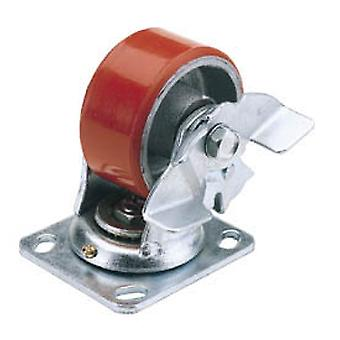 Draper 65524 100mm Dia. Swivel Plate Fixing HD Polyurethane Wheel with Brake