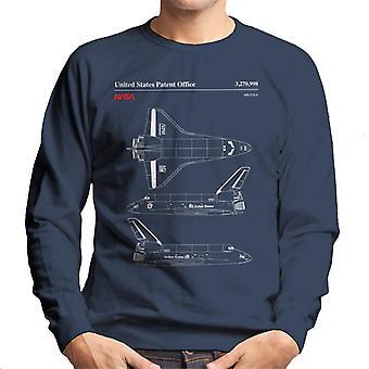 Endeavour der NASA Shuttle-Top und seitliche Ansicht Blueprint Herren Sweatshirt