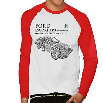 Haynes proprietários Workshop Manual 0686 Ford Escort XR3 preto Baseball masculino t-shirt de mangas compridas