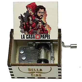 La Casa De Papel Print Wooden Hand Crank White Music Box For Christmas,