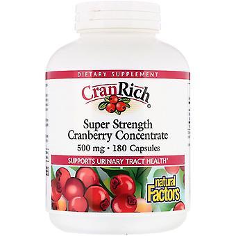 Natural Factors, CranRich, Super Strength, Cranberry Concentrate, 500 mg, 180 Ca