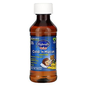 Hyland's, 4 Kids, Cold 'n Mucus Nighttime, Ages 2-12, 4 fl oz (118 ml)