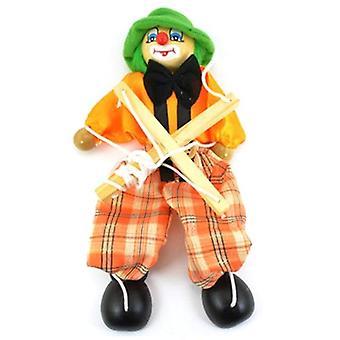 Divertido colorido tirar string títeres payaso madera Marionette juguete artesanal, junta