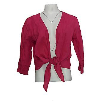 Serengeti Women's Sweater Crinkle Tie Cardigan Fuchsia Pink
