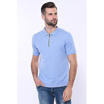Polo neck plain sky blue knitted t-shirt