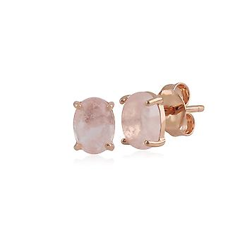 Classic Oval Milky Morganite Stud Earring in Rose Gold Plated 925 Sterling Silver 270E024001925
