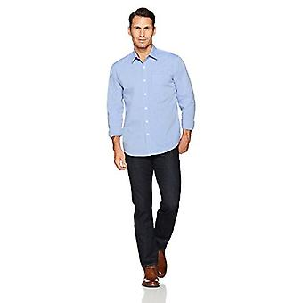 Essentials Herre's Regular-Fit Langermet Solid Casual Poplin Skjorte, Fransk Blå, X-Large