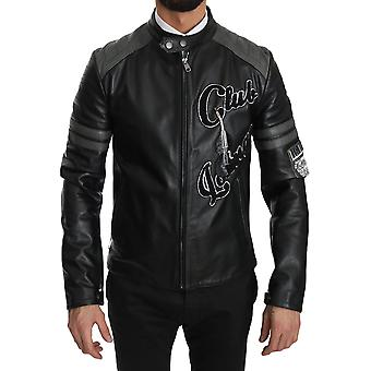 Dolce & Gabbana Black Leather Bullskin Club Bomber Jacket JKT2301-48