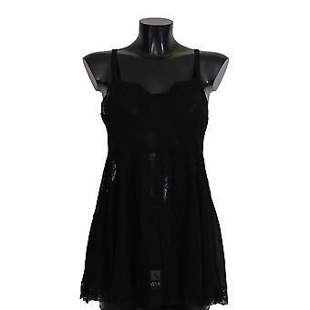 Dolce & Gabbana čierna hodvábne čipky šaty spodná bielizeň chemisole BIK263-M