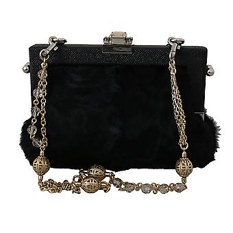 Black fur brocade crystal shoulder vanda purse