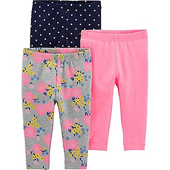 Simple Joys by Carter's Girls' 3-Pack Leggings, Pink/Blue Dot/Floral, 24 Months