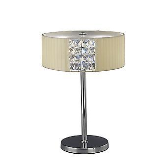Tafellamp ronde met Cream Shade 2 Licht gepolijst chroom, kristal