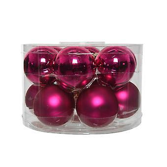 12 5cm Berry Pink Glass Kerstboom Kerstballen Decoraties