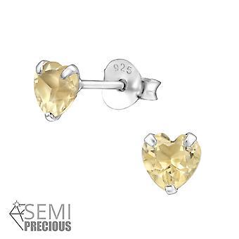 Srdce-925 Sterling Silver Opal a semi drahé ušné gombíky-W22947x