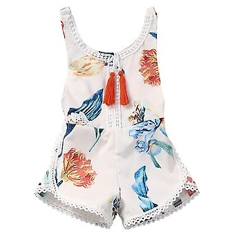 Girls Summer Clothing, Bib Overalls Jumpsuits Flower Print