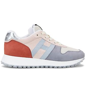 Damen Sneakers Hogan H383 Grau Rosa und Orange