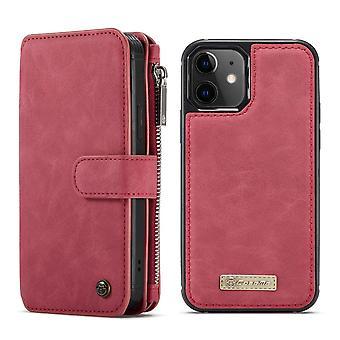CASEME iPhone 12 Mini Retro nahka lompakko Kotelo - Punainen