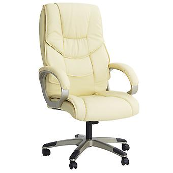 HOMCOM Computer Office Swivel Chair Desk Chair High Back PU Leather Height Adjustable w/ Rocking Function (Cream)
