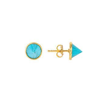 אבן חן ספייק חתיכים זהב טורקיז אור כחול 925 משובץ עגילים קטנים