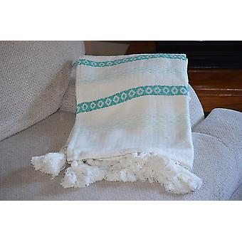 Hand Loom Woven Throw Turquoise