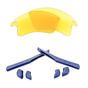 オークリーファストジャケットXLイエローネイビーアンチスクラッチアンチグレアUV400シークティックスによる交換レンズキット
