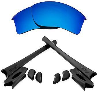 Náhradní čočky Kit pro Oakley Flak Jacket XLJ Modré zrcadlo Černé Anti-Scratch Anti-Oslnění UV400 od SeekOptics