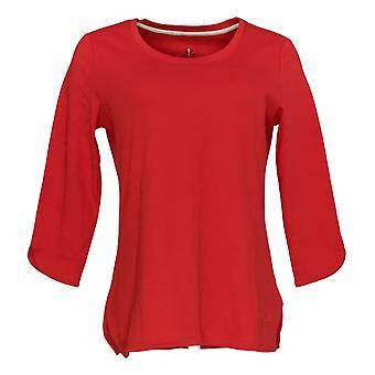 Isaac Mizrahi Live! Women's Top Essentials Scoop Nck Tulip Hem Red A384444