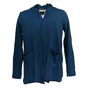 LOGO By Lori Goldstein Women's Sweater Open-Front W/ Pockets Blue A345358