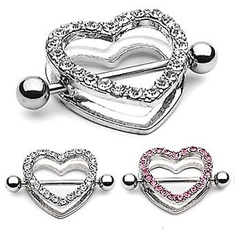 Nipple skjold - par 14g cz perle brolagt hjerteformet skjold med vægtstang