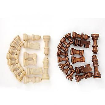 Wooden International Chess Game Set, Wood Pieces Without Chessboard,