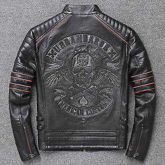 Brand Men Skull Coat Genuine Leather Jackets Vintage Motor Biker Plus Taille