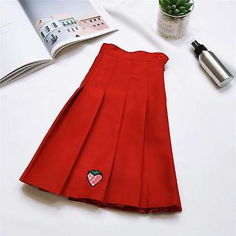 Girl Sports Tennis High Waist Strawberry Embroidery Pleated Skirt