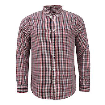 Ben Sherman Mens Checkered Shirt Long Sleeve Plaid Top 0062081 Red