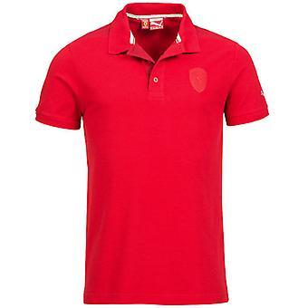 Puma Ferrari Męskie logo Tarcza Krótkie rękawy Czerwona bawełniana koszulka polo 567071 02 DD20